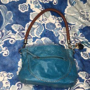 The Sak hobo handbag teal blue woven handle